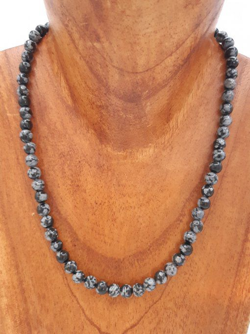 Collier en obsidienne neige